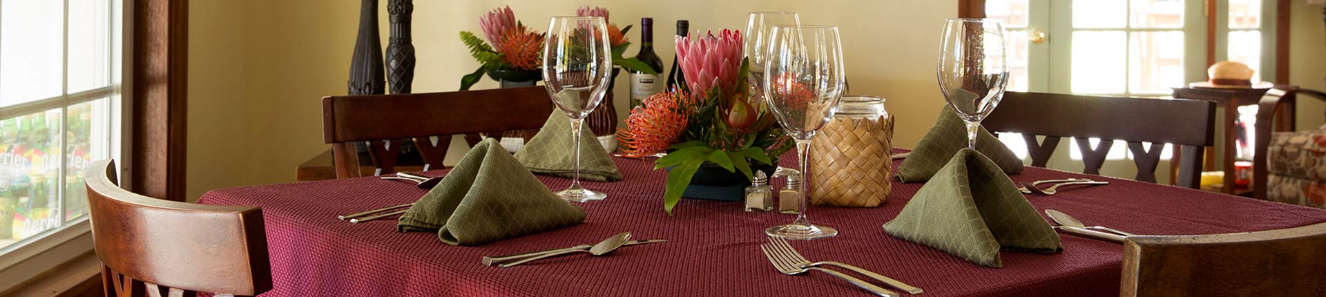 Dining table at Kalaekilohana Inn & Retreat Hawaii