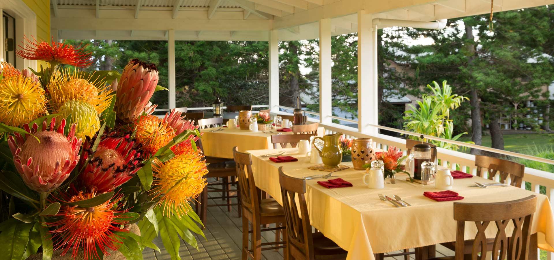 Lanai Breakfast Table at Kalaekilohana Inn and Retreat - Na`alehu, Hawaii