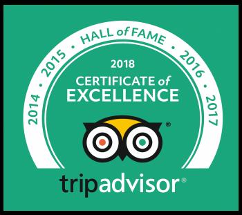 TripAdvisor 2018 Hall of Fame Certificate